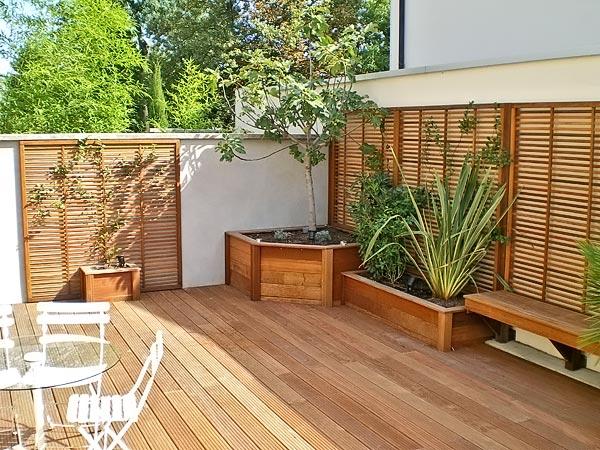 Claustra Bois Jardin : am?nagement et claustra en bois pose de palissade en panneaux de bois